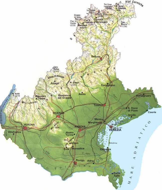 Veneto Regione Cartina.Italymap Italia Regioni Mappa Regione Veneto Italy Map