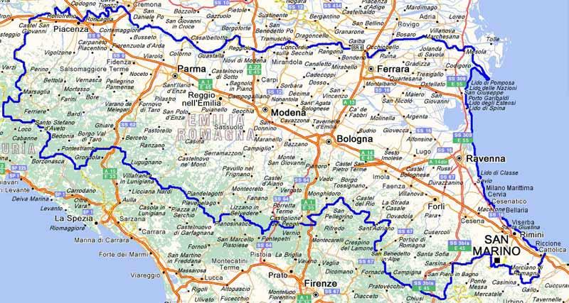 Cartina Emilia Lombardia.Italymap Italia Regioni Mappa Regione Emilia Romagna Italy Map