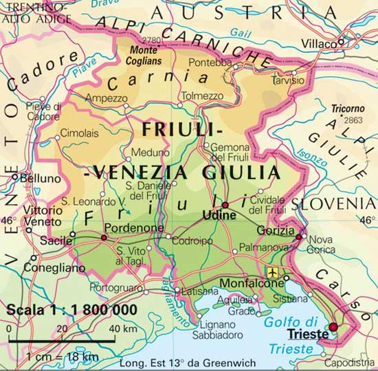 Venezia Cartina Italia.Italymap Italia Regioni Mappa Regione Friuli Venezia Giulia